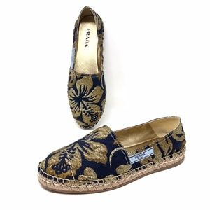 Prada Blue And Gold Brocade Espadrilles Flats 40.5